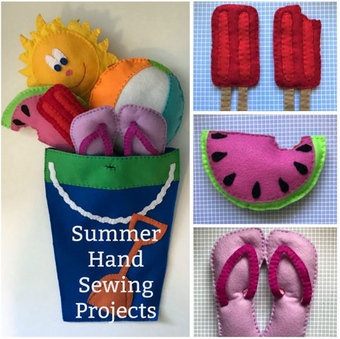 Summer Theme Hand Sewing Patterns- 6 Summer Felt Hand Sewing Projects