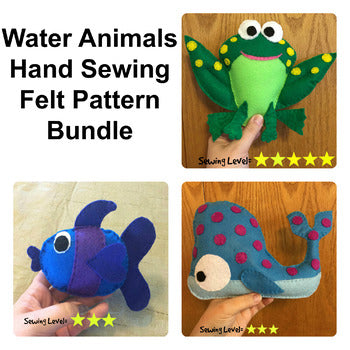 Water Animals Felt Hand Sewing Patterns Bundle