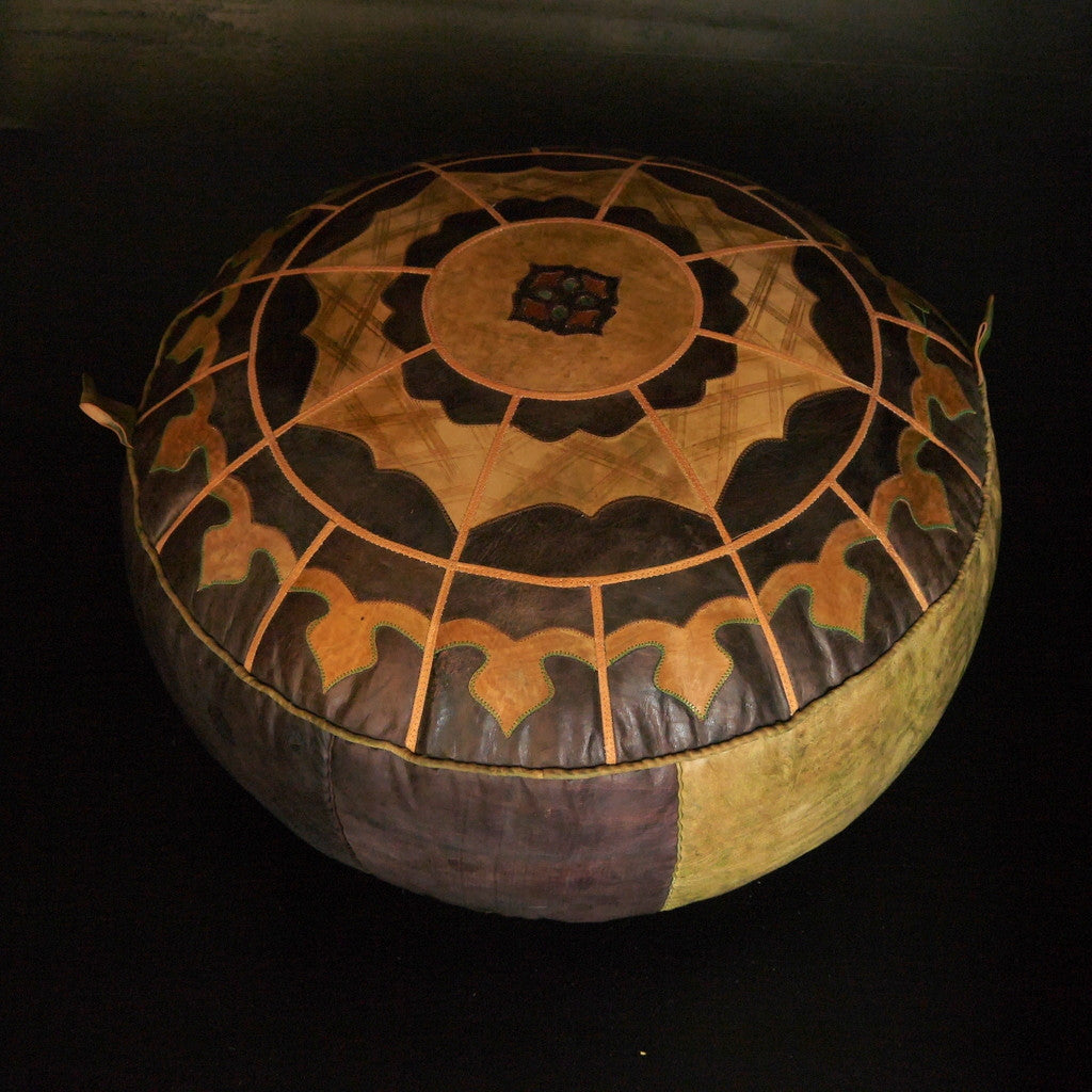 West African Leather Pouf