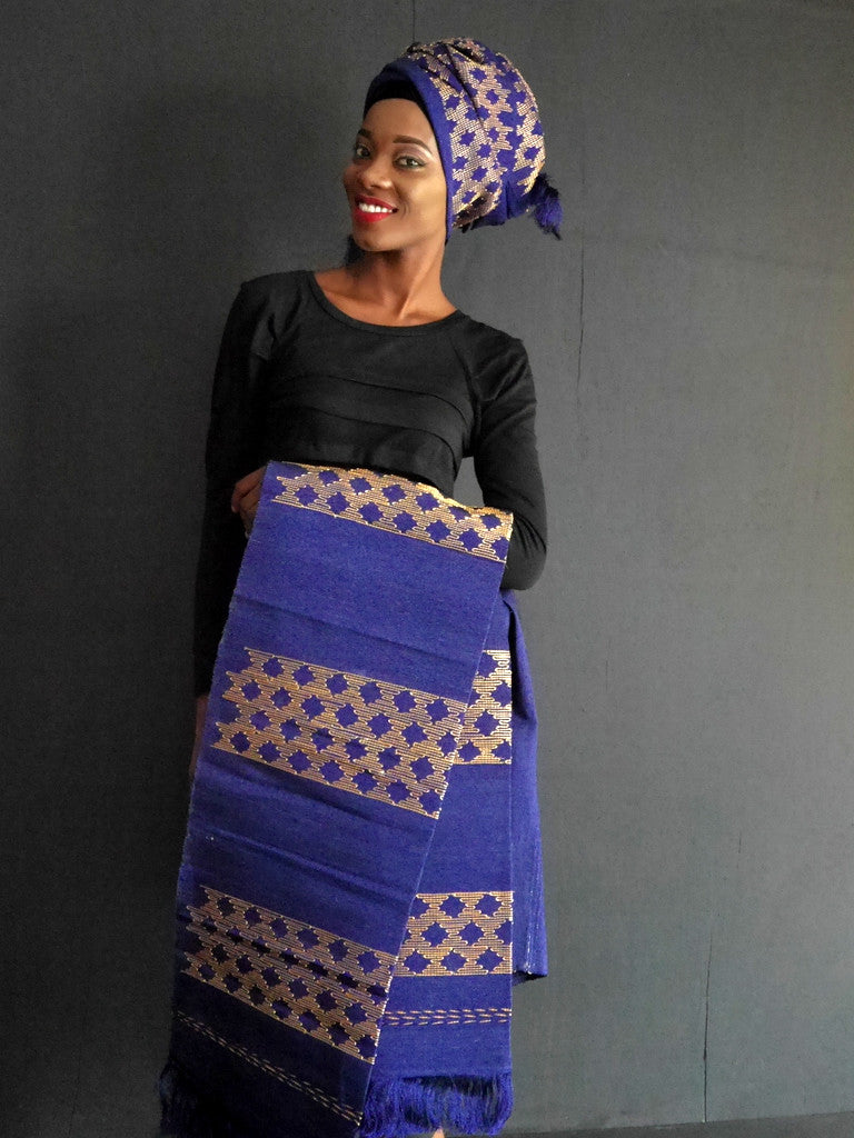 Okene Cloth Dark Blue and Gold Outfit