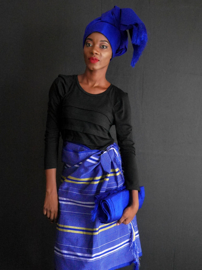 Okene Cloth Blue with Stripes Outfit