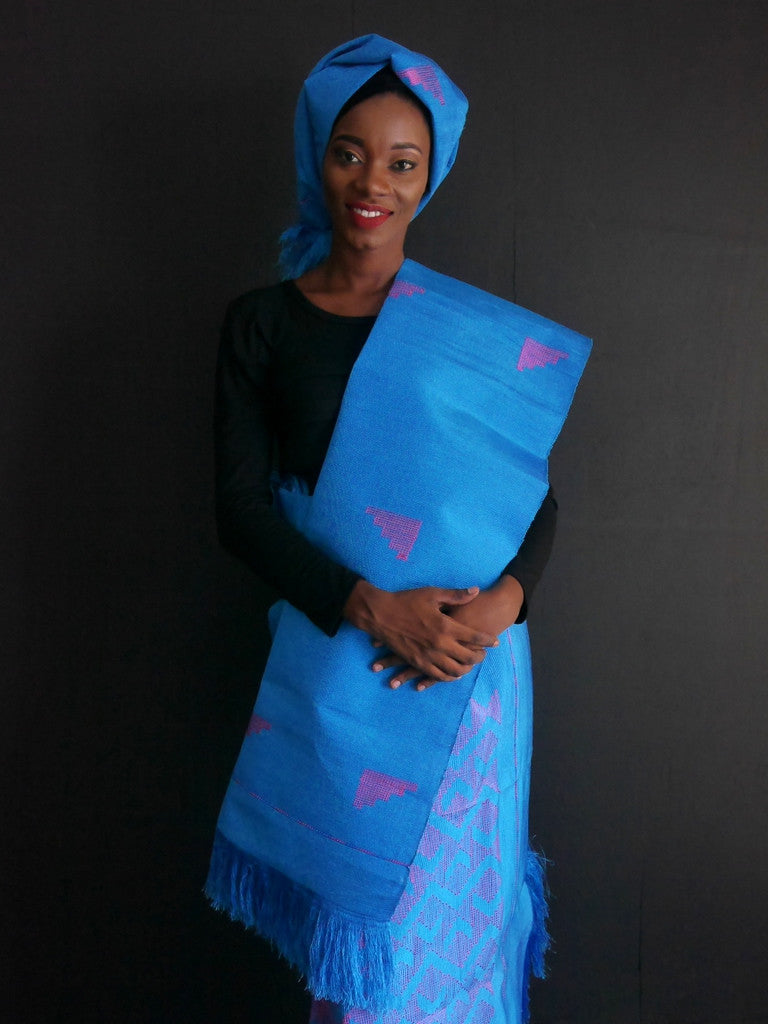 Okene Cloth Blue and Pink Outfit