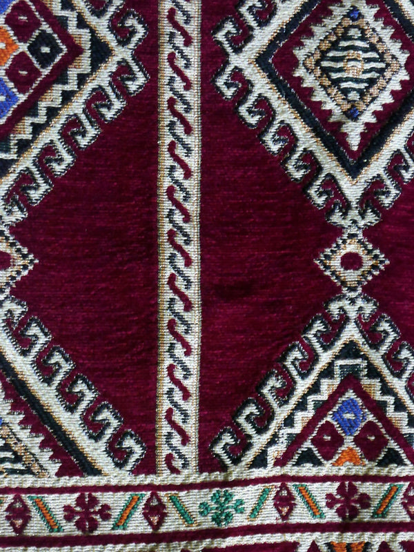 Beautiful Hand Woven North African Wine and Cream Patterned Rug