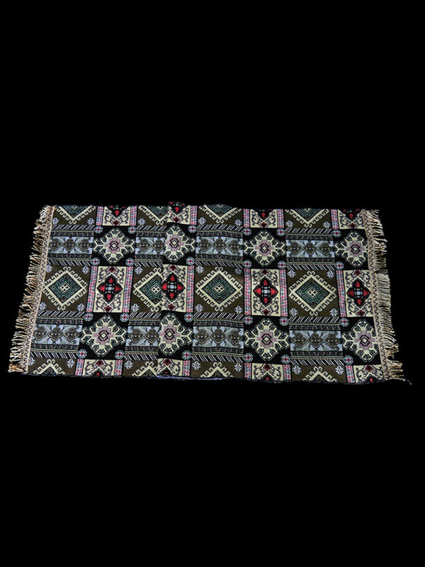 Beautiful Hand-Woven North African Cream and Brown Patterned Rug