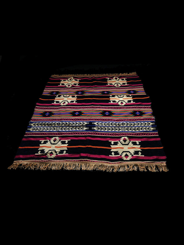 Large Multi-Coloured Patterned Hand-Woven North African Rug