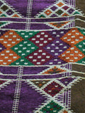 Large Purple Patterned Hand-woven North African Rug