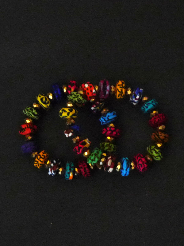 Multicolored Disc Bracelet with Crystals