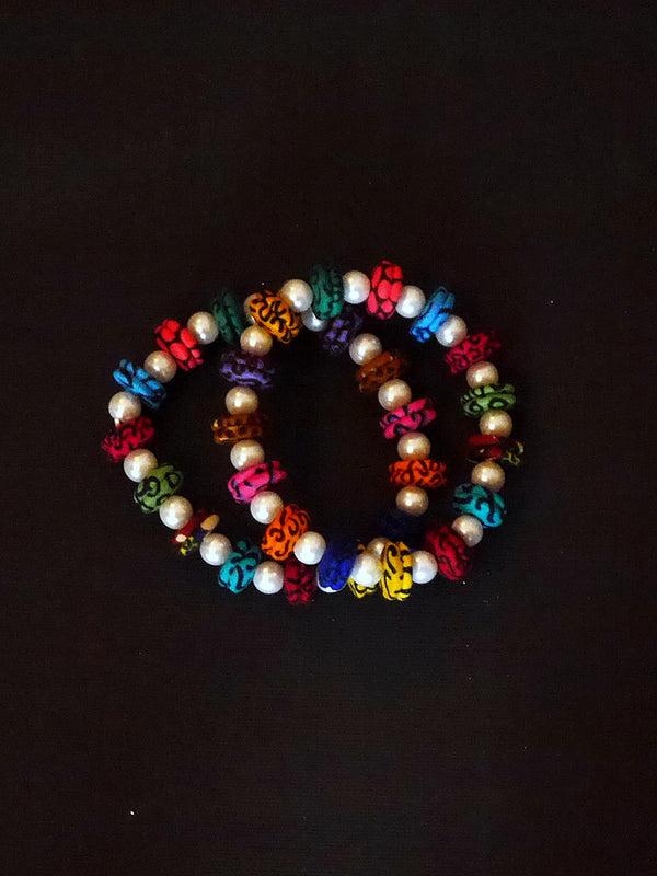 Multi-Colored Disc Bracelet with Pearls