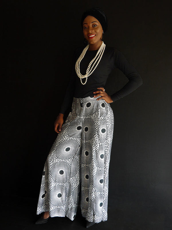 Black And White Silk Palazzo Pant