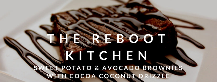 Reboot Kitchen - sweet potato and avocado brownies with cocoa coconut drizzle