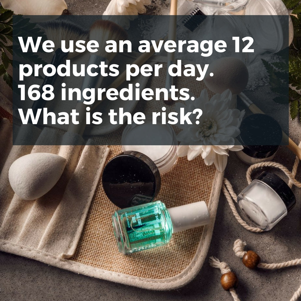 make-up, nail polish, skincare flat lay. title: we use an average 12 products per day. 168 ingredients. what is the risk?