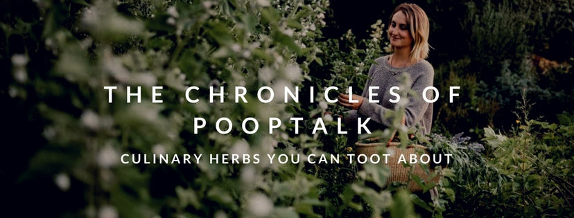 text poop talk - culinary herbs you can toot about -blonde female starting at plants
