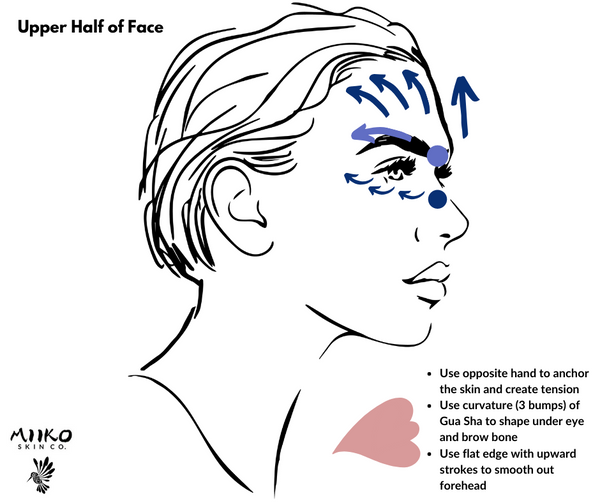 gua sha how to use - upper half of face