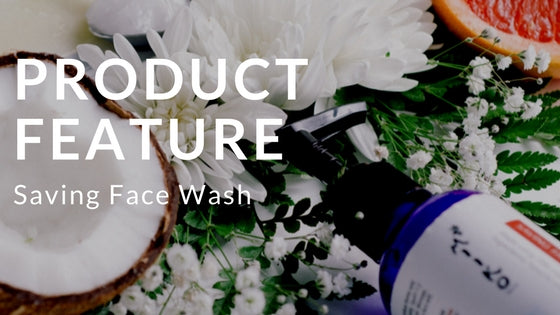 text product feature: saving face wash, image coconut, flowers, orange, blue bottle, skin care product, natural