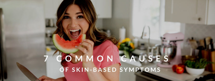 girl eating watermelon holding knife - 7 common causes of skin based symptoms