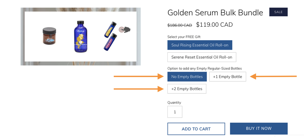 Screenshot of How to Choose your Empty Bottles with your Holiday Bulk Bundles