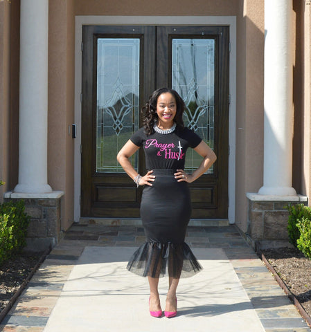 Prayer + Hustle Top -Pink - DreamBuildSuccess