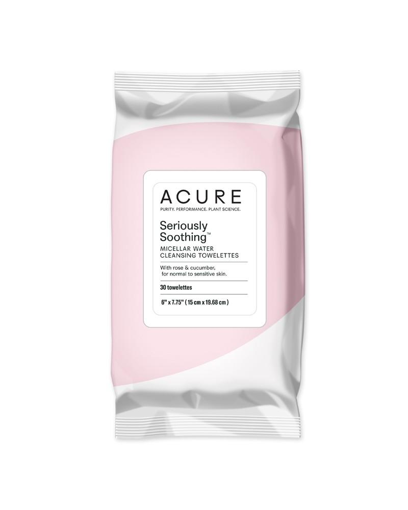 Acure Seriously Soothing Face Cleansing Wipes Rose + Cucumber 30 Wipes