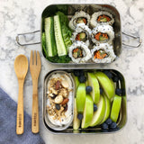 Ever Eco Bento Box Stainless Steel Stackable 2 Tier + Mini Snack Container