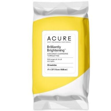 Acure Brilliantly Brightening Face Cleansing Wipes Coconut 30 Wipes