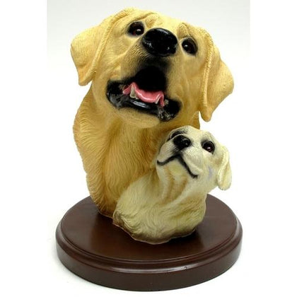 Living Stone Yellow Lab with Pup Bust on Base