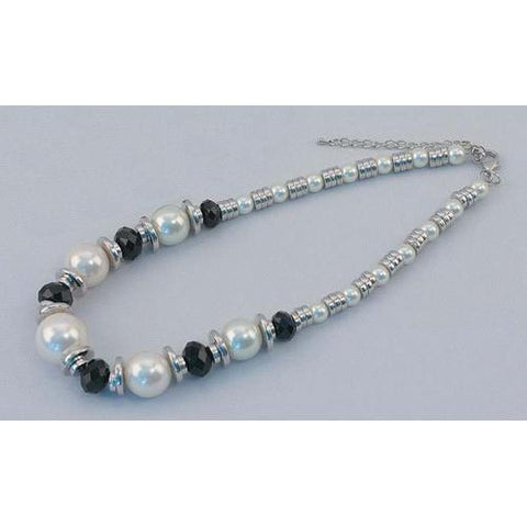 Silver Tone Necklace with White Beads