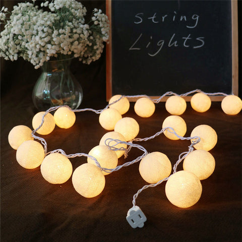 Romantic Vintage Cotton Ball String LED Fairy Lights