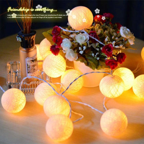 Cotton Ball LED Battery Powered Fairy String Lights