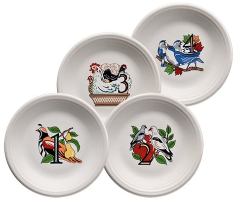 Fiesta Twelve Days of Christmas Salad/Dessert Plates, Series 1, Set of 4