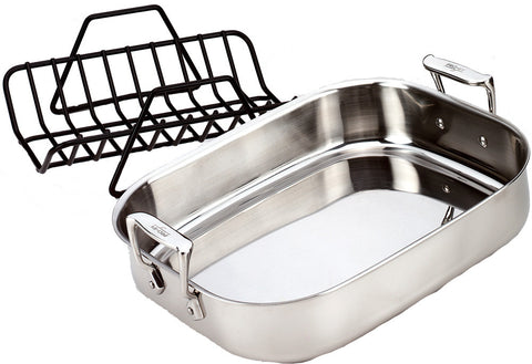 All Clad, Stainless Steel Roaster with Rack - Small