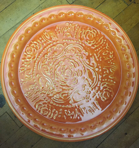Round Orange Metal Tray
