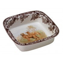 Spode Woodland Golden Retriever Square Rim Dish