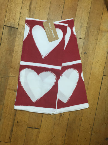 Red Towel with White Hearts