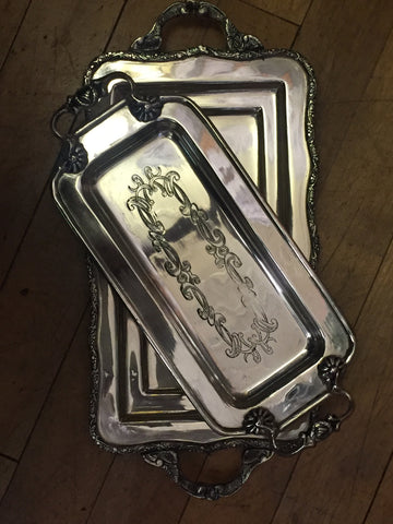 Silver-Plated Tray with Handles