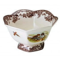 Spode Woodland Lapwing/Pintail Hexagonal Footed Bowl, 8.5""