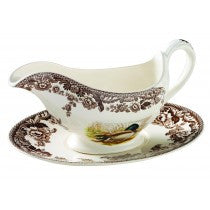 Spode Woodland Mallard/Snipe/Rabbit Sauce Boat and Stand