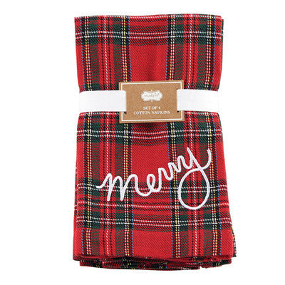 """Merry"" Tartan Napkin, Set of 4"