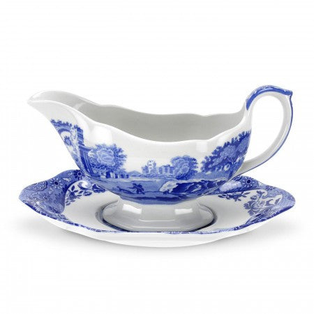 Spode Blue Italian Sauce Boat and Stand