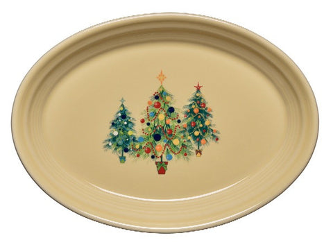 Fiesta Christmas Tree Trio of Trees Small Oval Platter