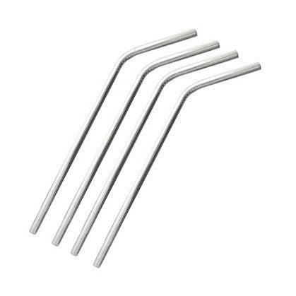RSVP Stainless Steel Bent Straws, Set of 4