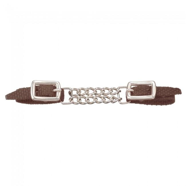 MINI - DOUBLE CHAIN NYLON CURB STRAP - BROWN