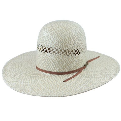 2-TONE FANCY VENT IVORY/TAN STRAW HAT