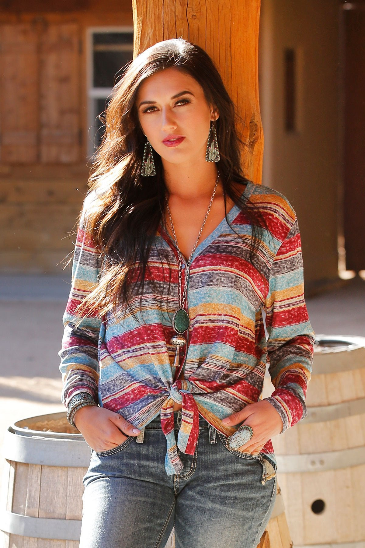 LADIES MULTI STRIPE THIN SWEATER
