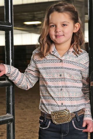 GIRLS LONG SLEEVE AZTEC PRINT SHIRT