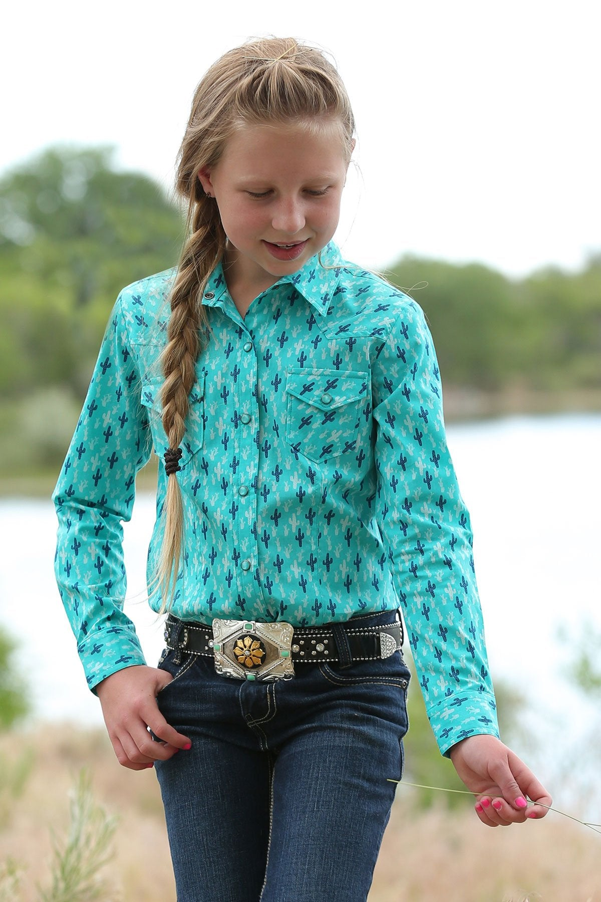 GIRLS CACTUS PRINT SNAP LONG SLEEVE SHIRT