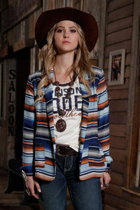 12/1 LADIES BLUE/ORANGE STRIPE GEORGETTE BLAZER