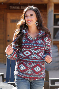 LADIES AZTEC FLEECE HOODIE