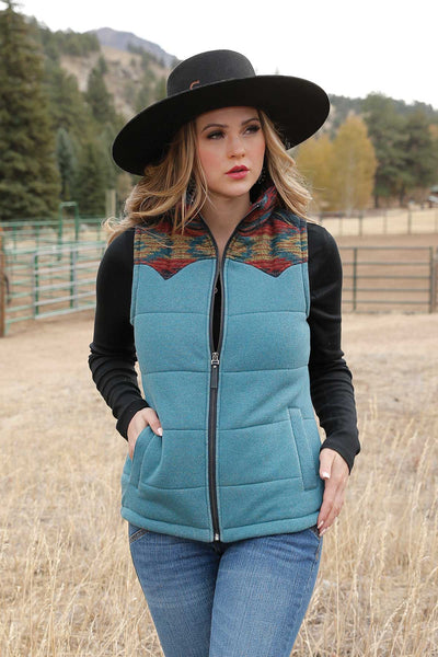 LADIES TWEED VEST W/ AZTEC PRINT YOKES