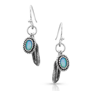 OPAL/FEATHER EARRINGS