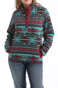 LADIES TEAL/BURGANDY AZTEC POLAR FLEECE PULLOVER